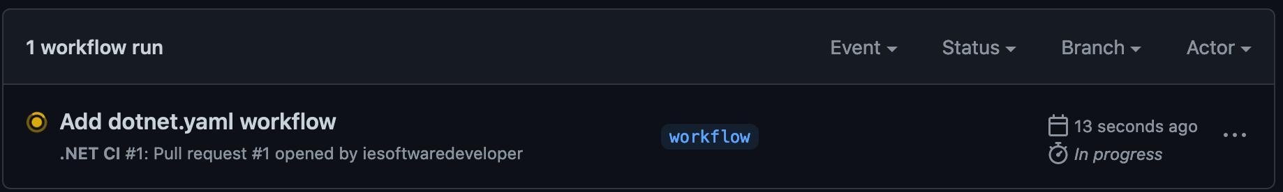 "Screenshot showing workflow running on ""workflow"" branch"