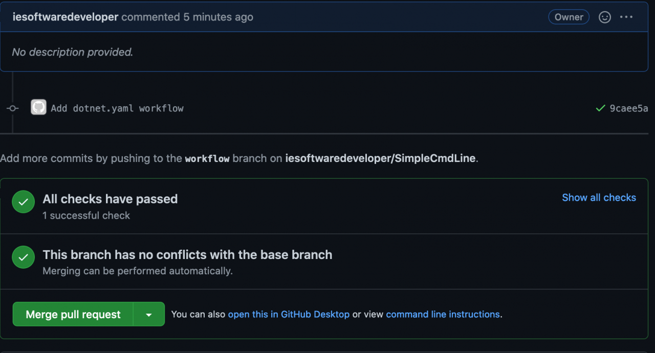 Screenshot showing workflow success and read to complete pull request.